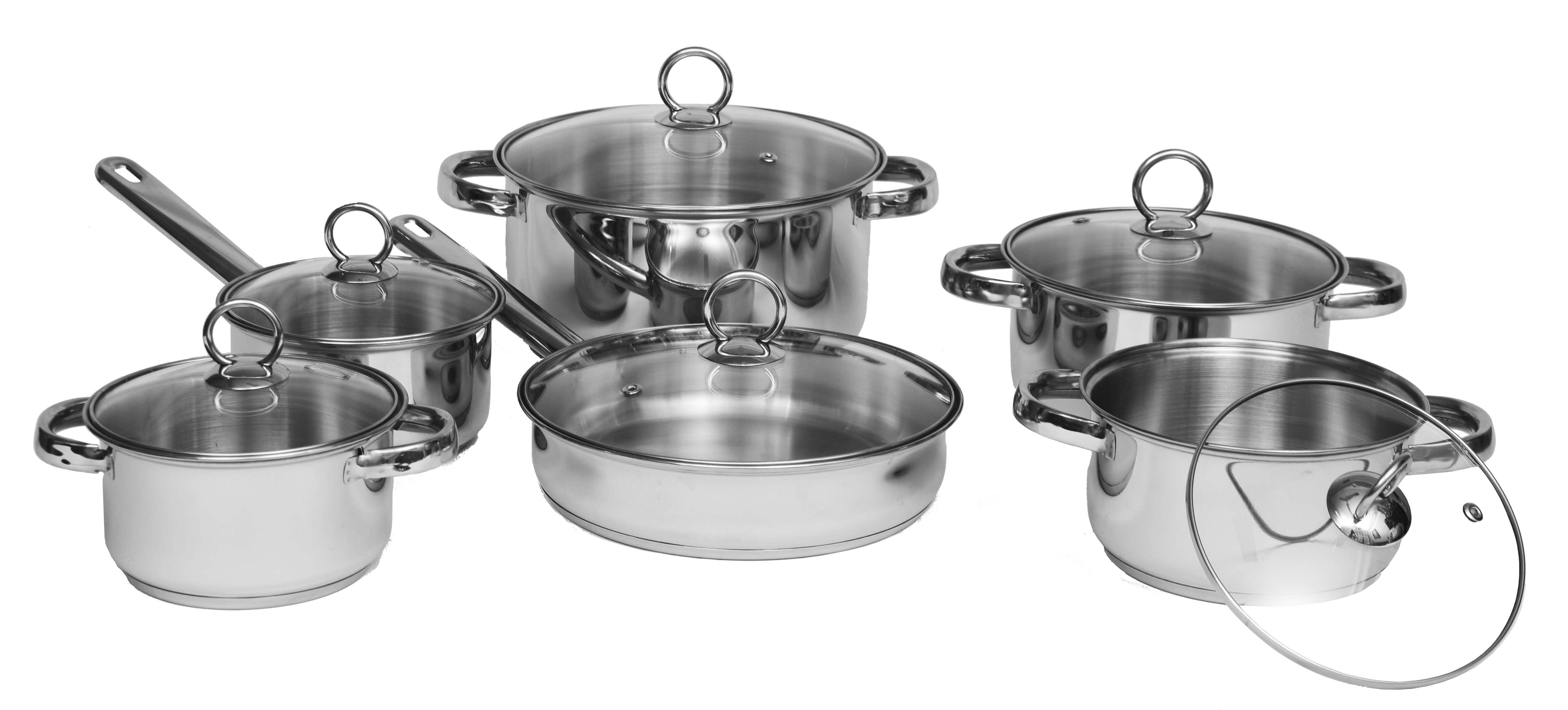 12pcs Straight Shape Stainless Steel Cookware Set With