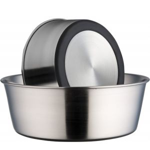 Stainlees steel heavy dish w rubber base