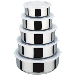 5pcs plastic lid bowl set